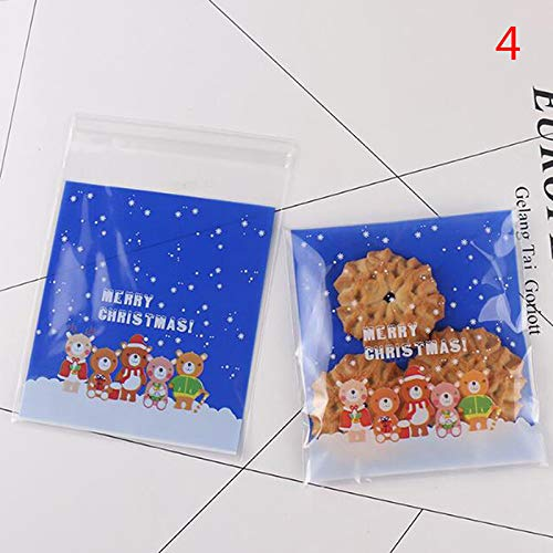 Bags Wrapping Supplies - 100pcs Xmas Snowflake Snowman Santa Tree Bear Christmas Gifts Holders Bake Biscuit Cookies Candy - Bear Bag Crown Sweet Bag White Box Supplies Jute Birthday Paper Can ()
