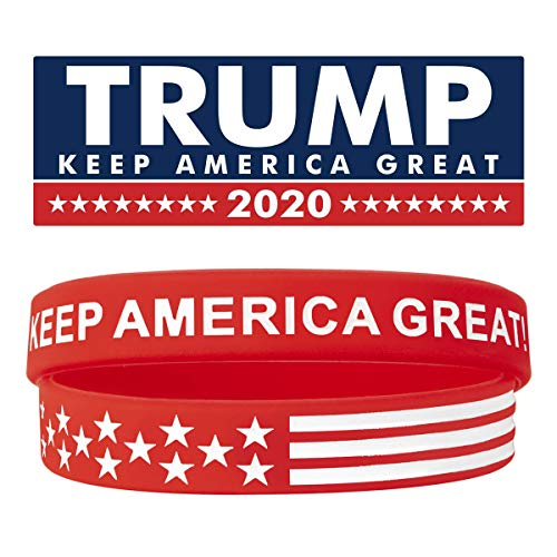 Sainstone Keep America Great Donald Trump for President 2020 Silicone Bracelets - Inspirational Motivational Wristbands - Adults Unisex Gifts for Teens Men Women (Red)