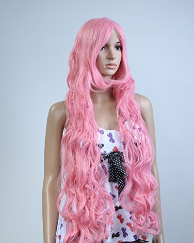 Cool2day® Anime Costume Long Curly Pink Hair Cosplay Party Wig (Model:JF010124)