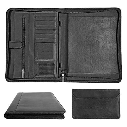 Padfolio Portfolio - Executive PU Leather Folder - Secure Zippered Closure - Bonus Slim Card Holder - Professional Gifts for Business Meeting Interview Resume Office Organization Travel - Matte Black Leather Padfolio Pen