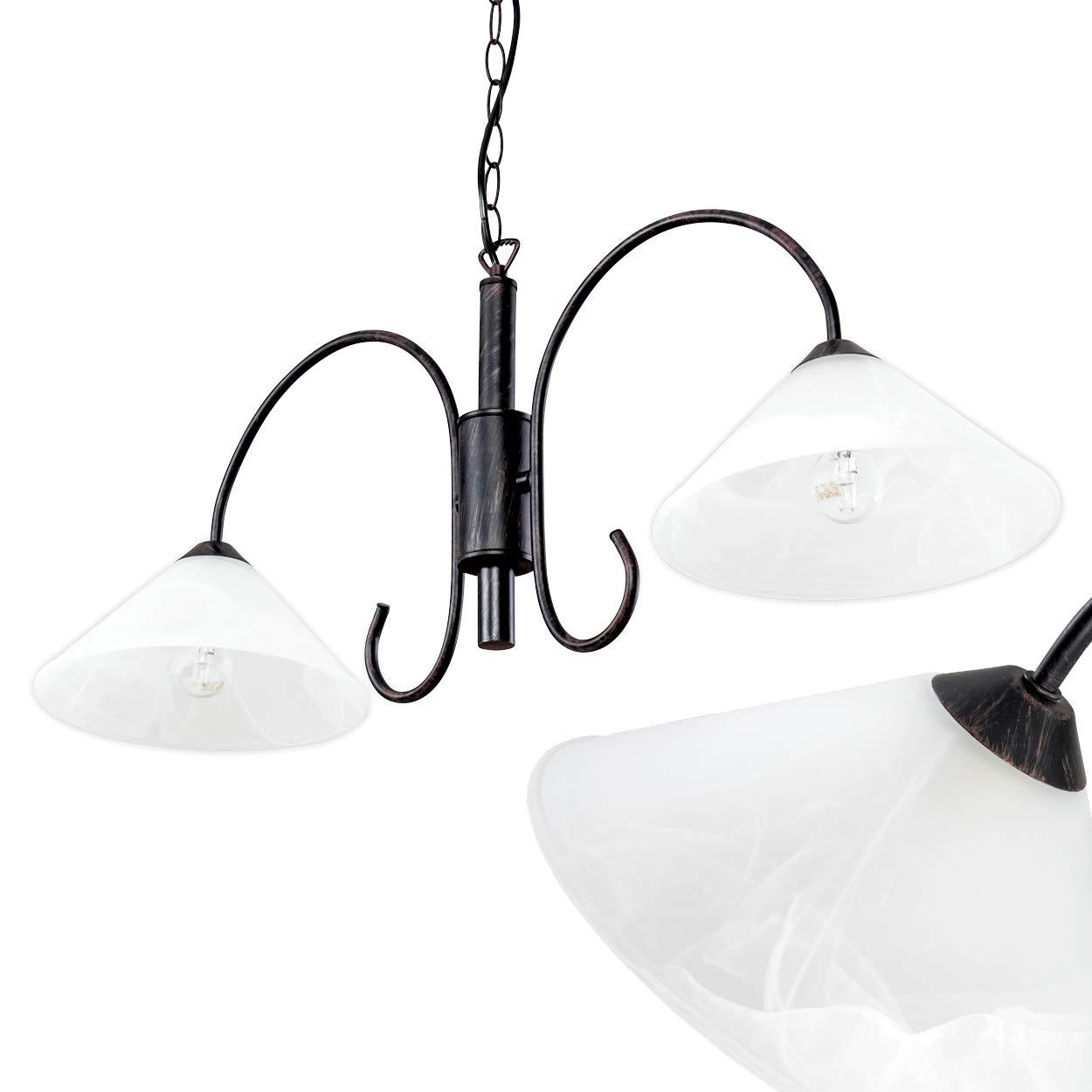 LED-Hängeleuchte Forset - Längliche Hängelampe rustikal - 2-flammig mit kegelförmigen Lampenschirmen aus Echtglas für Esszimmer, Wohnzimmer – 2 x E14-Fassung LED-geeignet – individuell kürzbar