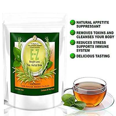 E-Z Detox Tea - Natural Weight Loss, Appetite Control, Body Cleanse. One Pound a Day Proven Weight Loss Diet Tea
