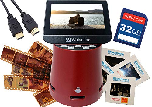 Wolverine Titan 8-in-1 20MP High Resolution Film to Digital Converter with 4.3″ Screen and HDMI Output, Worldwide Voltage 110V/240V AC Adapter, 32GB SD Card & 6ft HDMI Cable Bundle (Red)