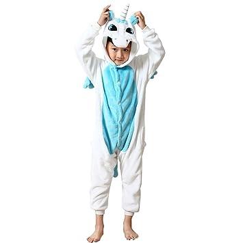Missley unicornio Halloween niños unisex unicornio animal traje cosplay traje pijama (115cm, azul)