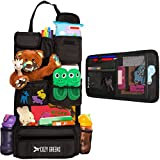 Car Organizer for Back Seat | Eco-Friendly & Strong | Kick Mat Protects Backseat | FREE Visor Organizer | Storage for Toys, Travel Accessories, Tablet | Baby Shower Gift Box (Black)