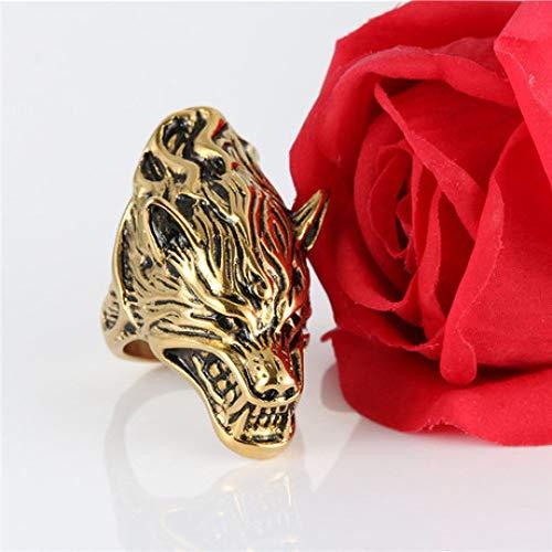 (YAYOUSHEN Men's Ring, Titanium Steel Wolf Head Ring, Stainless Steel Prairie Ring)