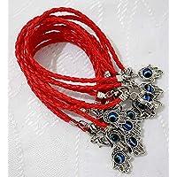 """Lote de 10 - Pulseras de cuerda de Kabbalah con cuerdas rojas HAMSA """"Lucky"""" con cuerda trenzada y mano Hamsa giratoria """"Ojo del mal"""" - Joyas colgantes de amuleto judío judío para """"Éxito y protección"""""""