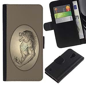 EuroCase - Samsung Galaxy S4 IV I9500 - Ancient Werewolf Portrait Monster Lycan - Cuero PU Delgado caso cubierta Shell Armor Funda Case Cover