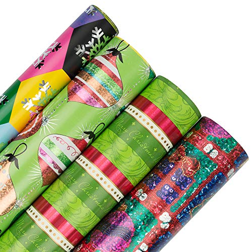 (JAM PAPER Assorted Gift Wrap - Christmas Wrapping Paper - 85 Sq Ft Total - Shimmering Christmas - 4 Rolls/Pack)