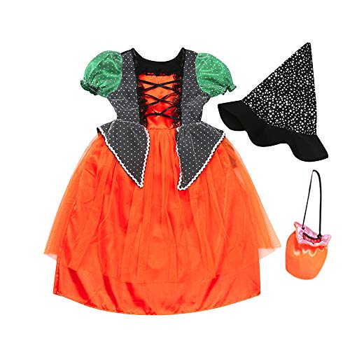 Halloween Masquerade Dress Girls Toddler Kids Party Clothes Dresse+Hat+Bag Outfits(Orange,160)