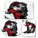 3 Piece Bath Mat Rug Set,Skull,Bathroom Non-Slip Floor Mat,Sexy-Sugar-Skull-Lady-with-Mexican-Style-Floral-Mask-Evil-Gothic-Dead-Art,Pedestal Rug + Lid Toilet Cover + Bath Mat,Grey-White-Black-Red