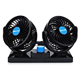 DAMAIFENG Dual Heads Electric Car Cooling Fan 12V 360 Degree Rotatable Mini Low Noise Powerful Summer Air Circulator Fan with 2 Speed Adjustable for Vehicle Truck RV SUV or Boat