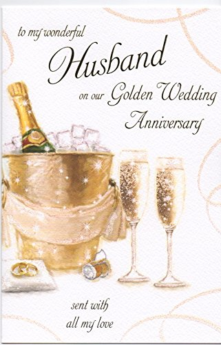 To My Wonderful Husband On Our 50th Golden Wedding Anniversary Large Greeting Card GR031