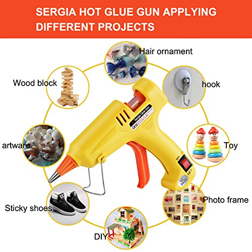 Hot Glue Gun Kit with 20 Pcs Glue Sticks, Mouse Pad, Anti-Hot Cover,Portable case for DIY Small Projects, Craft and Arts & Home Or School Quick Repair Sealing Use, Christmas Decoration/Gift (20 Watt) by SERGIA (Image #5)