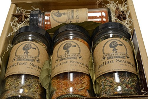 Sausage Seasoning Sampler Gift Set of 4 ~ Gift Set by High Plains Spice Company ~ Gourmet Meat Spice Blends & Rubs For Beef, Chicken, Veggies & All Recipes ~ Spice Blends Handcrafted In Colorado, USA