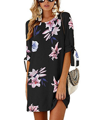 Dresses Mini Navy03 Summer Solid tie T Women Dresses Sleeves Self YOINS Blouse Neck Tunics Half Crew Shirt FABxZq