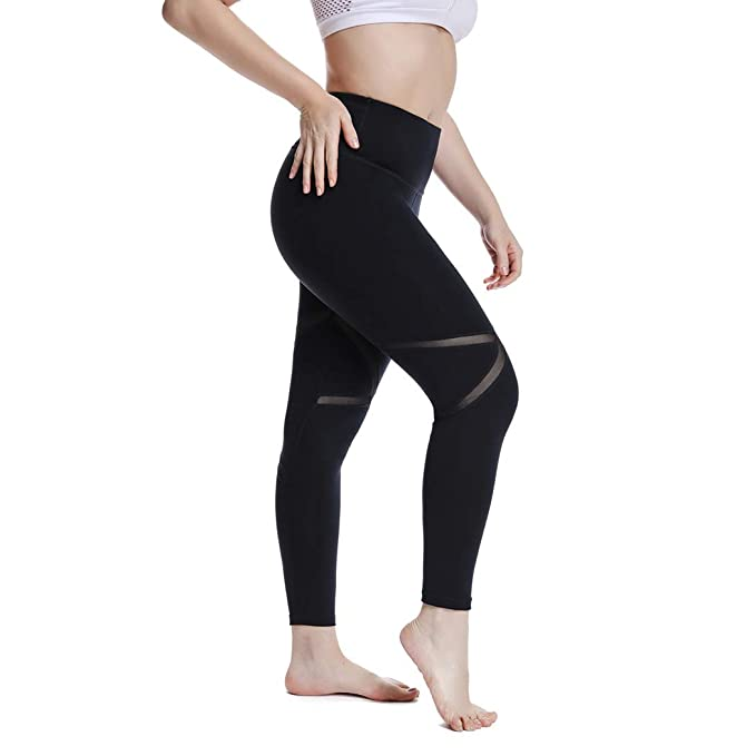 distinctive design top-rated professional clearance sale YOHOYOHA Women's Yoga Pants Plus Size Breathable Mesh Splice Tummy Control  Best Long Workout Fitness Pants for 4 Way Stretch