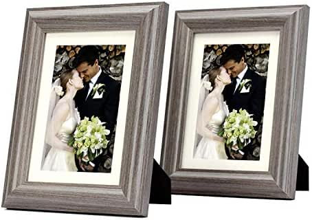 Set of Two, 5x7 Photo Frame - Ivory Mat for 4x6 Picture - Gray Oak Color - Easel Stand, Sawtooth Hangers, Swivel Tabs - Tabletop/Wall Display - Wide Molding - Real Glass - Smooth Finish (Gray Oak)
