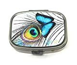 Value Arts Blue Butterfly and Peacock Feather Pill Box, Brass and Glass, 2.25 Inches Long