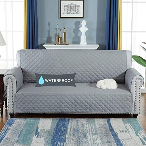 YESHOME Sofa Cover Slipcovers-Quilted Upgrade Anti-Slip Couch Covers-Waterproof Sofa Protector with Elastic Strap-Furniture Cover for Dogs Pet (Sofa, Gray) (Waterproof Sofa Cover)
