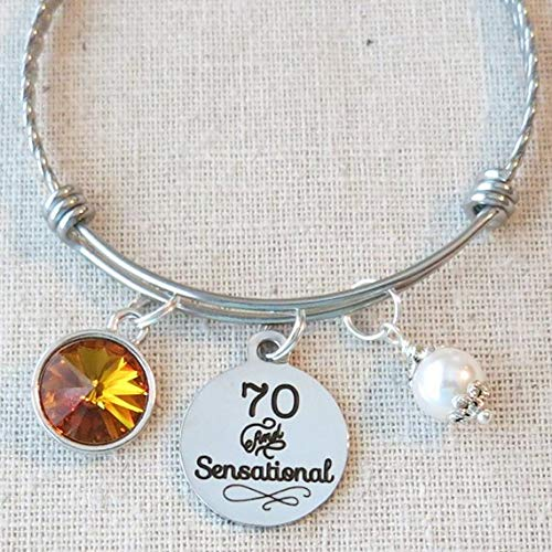 70th BIRTHDAY Gift For Her Milestone November Birthday Gifts Friend 70 And Sensational Bangle Bracelet Mom Sister