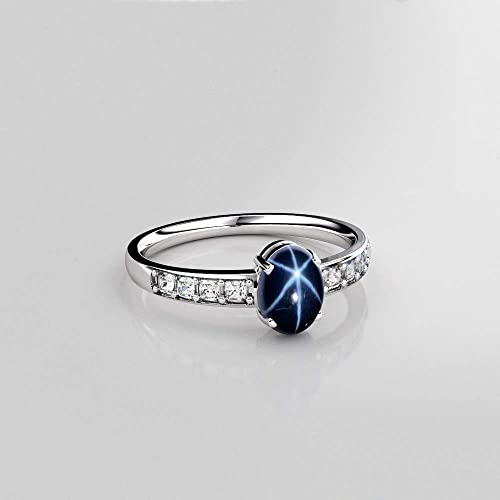 4b5f1fa74d36ce Image Unavailable. Image not available for. Color: Genuine Blue Star  Sapphire Sterling Silver Ring
