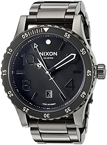 Nixon Men's 'Diplomat SS' Swiss Quartz Stainless Steel Watch, Color:Black (Model: A2771885)