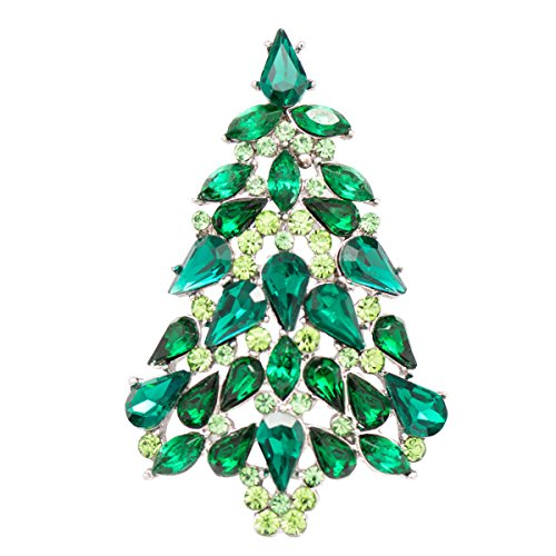Crystal Rhinestone Christmas Tree Pin - Multicolor Crystals Rhinestone Brooch Women Jewelry Christmas Tree Broaches Pins P5458 (Green)