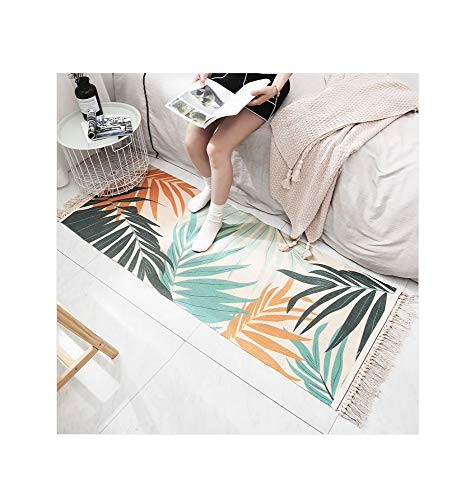 GQSC Simple Hand-Woven Tassel Cotton Mat,Long Home Bedroom Non-Slip Bedside Rug Mat Rug,Geometric Abstract Machine Washable Floor Rug Simple Hand-Woven Tassel Cotton Mat / 3