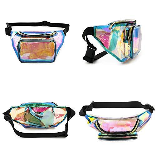 Fanny Pack, Packism Holographic Fanny Pack for Women Men, Shiny Neon Waist Pack Bag for Festival Rave Party, Iridescent Belt Bag