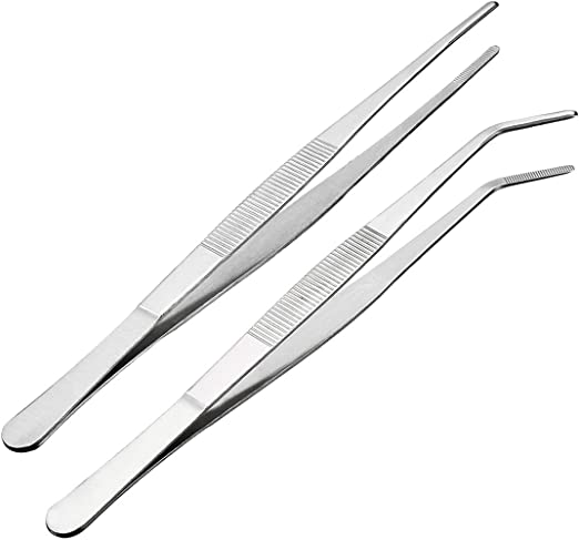 """LONG STAINLESS STEEL TONGS SERRATED TIP EXTRA LENGTH KITCHEN TWEEZERS 12/"""""""