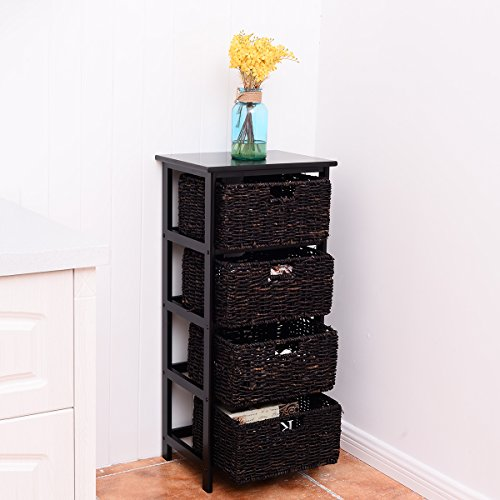 Giantex Wooden End Accent Storage Table Home Office Furniture Decor W/4 Storage Baskets(4 Baskets)