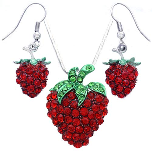 Soulbreezecollection Green Leaf Red Strawberry Berry Fruit Pendant Necklace Charm Designer Fashion Jewelry (Red Dangle Set)