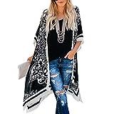 MIOIM Womens Cardigan Beach Bikini Cover up Top Long Kimono Coat Blouse Boho Shirts Black M