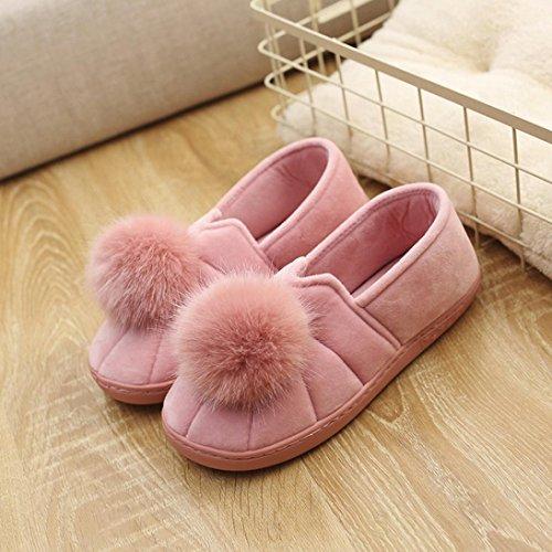 BZLine® Frauen Indoor Hausschuhe Hairball Anti-Slip Soft Schwangere Schuhe Pink