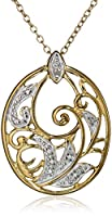18k Yellow Gold-Plated and Diamond-Accented Pendant Necklace, 18""