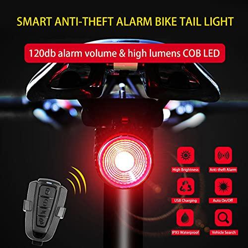 TFJ Smart Bike Tail Light Bike Alarm Anti-Theft Rear Bicycle Brake Light USB Rechargeable Motorcycle, Waterproof Bicycle Security Cycling Alarm Vibration Sensor