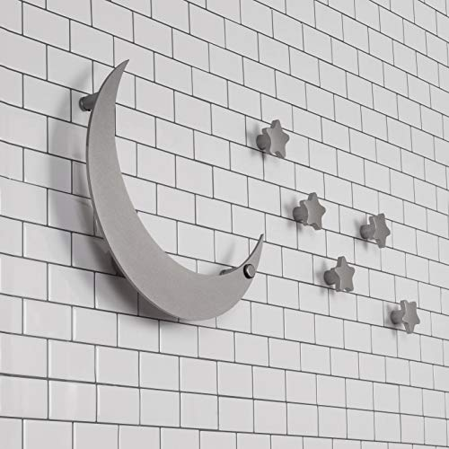 Star Hook Coat (SDH Wall Mounted Coat Hooks for Bedroom/Kids Room/Living Room/Moon and Stars Theme/Cute/Heavy Duty/Garment Friendly/DIY/Satin Silver Color/6 Hooks)