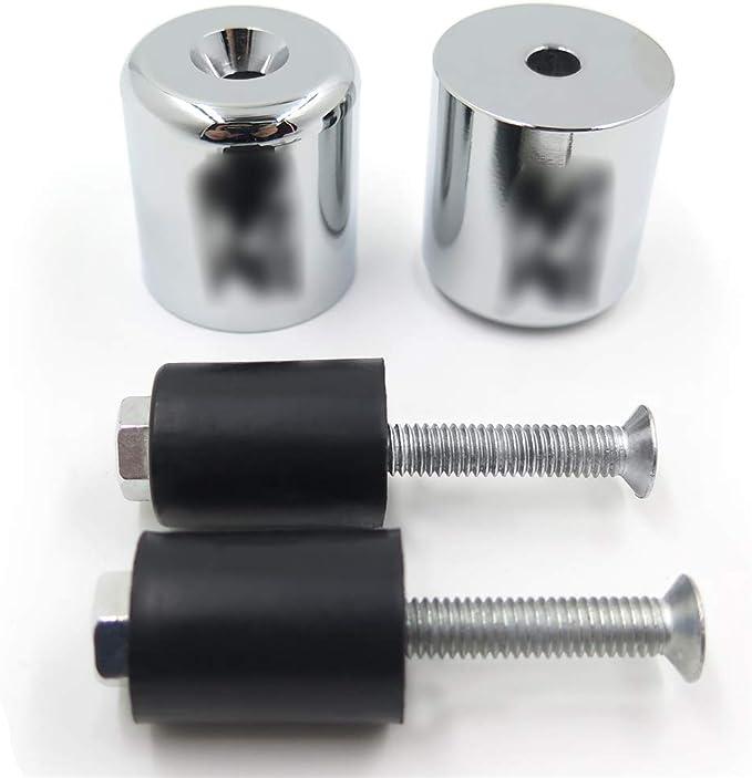 Chrome Hand Bar End For Suzuki GSXR600 92-14//GSXR750 96-14//GSXR1000 01-14 Rubber