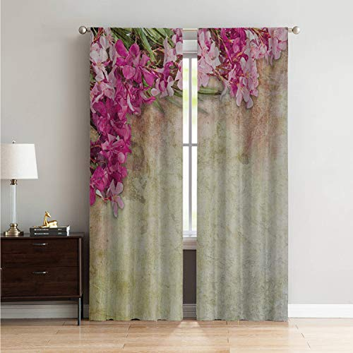 Mozenou Window for Living Room Black Out Window Curtain Floral,Vintage Illustration of Oleander Flowers Distressed Retro Background,Pink Green Pale Yellow W108 x L96 Inch