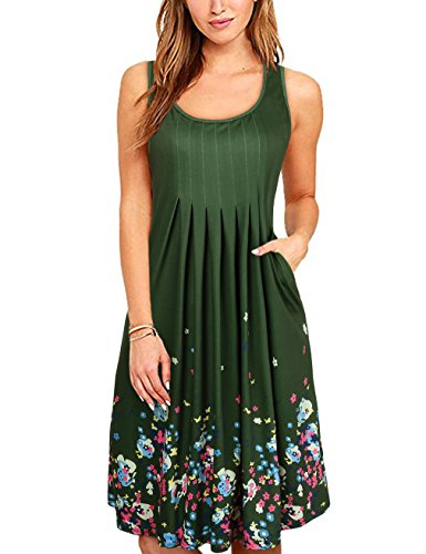 Casual Spring Summer Dress (LNIMIKIY Dress For Women For Summer, Juniors Midi Length Casual Dresses Flower Printed Boho Style Green Large)