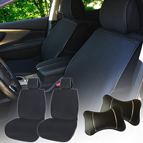580501 Black - Fabric 2 Front Car Seat Cover Cushions + 2 PU Leather Headrest Pillow, Breathable, Non-slip, Compatible to Toyota Camry Rav 4 Sequoia Avalon Echo Prius C V 2018 2017-2007 (2007 Rav 4 Driver Visor)
