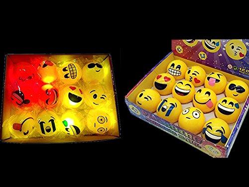FREE Bag + 12 LED Emoji Light Up Balls - Flashing Rubber Bouncy 2