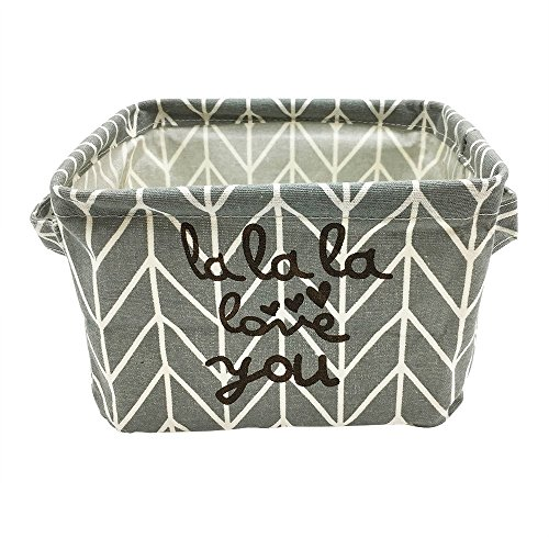Mziart Stylish Cotton Fabric Small Storage Basket with Handle, Foldable Sundry Book Toy Cosmetic Storage Organizer Box for Home Office Shelves & Desk (Grey Arrows)