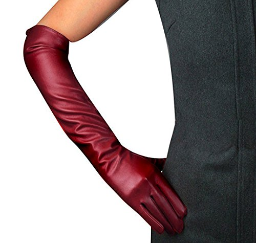 Edith qi Women's Long Evening Dress Faux Leather Elbow Length Party Gloves,Medium,Wine Red - Red Elbow Length Gloves