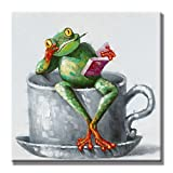 SEVEN WALL ARTS 100% Hand Painted Oil Painting Cute Animal Frog Painting for Living Room Kids Room Decor 24 x 24 Inch (24 x 24 Inch, Studying Frog)