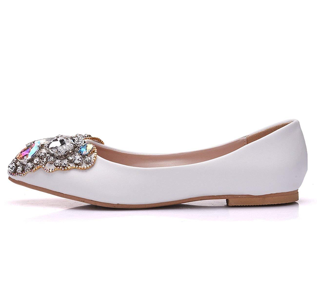 ZHRUI Damen Bow Strass Satin Slip-on Slip-on Slip-on Hochzeit Kleid Ballerinas (Farbe   Weiß-Flat, Größe   7 UK)  a05560