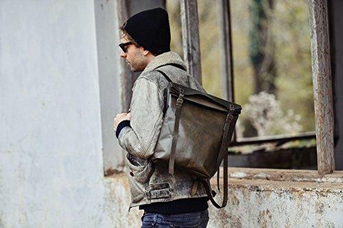 Soft Green Leather Handmade Unisex Backpack