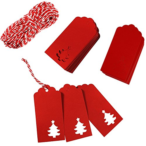 Aneco 150 Pieces Kraft Paper Tags Gift Tags Hang Labels Christmas Tree Shape with 30 Meters Natural Twine for Christmas Wedding Favor DIY Arts and Crafts and Holiday Red-and-white Twine