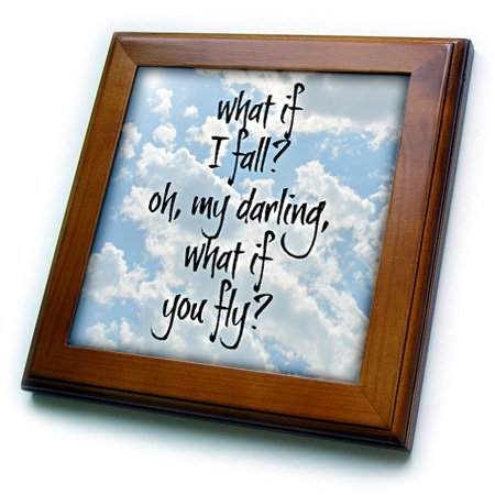 Framed Sky Tile - 3dRose ft_200712_1 What if I Fall Oh My Darling What if You Fly Black Letters on Sky Pic Framed Tile, 8 by 8-Inch